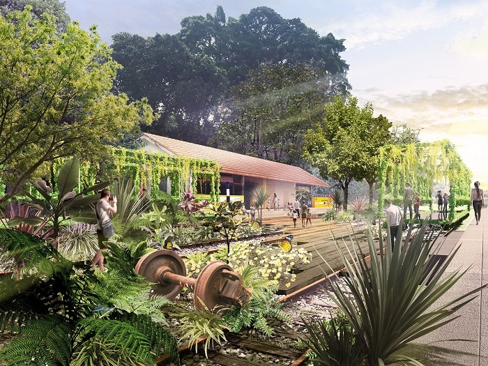 The Station Gardenaccommodatesamenities like a bicycle station, and acafé, as well asspaces for larger events like the Green Corridor Run within a lush, green environment (Nikken)