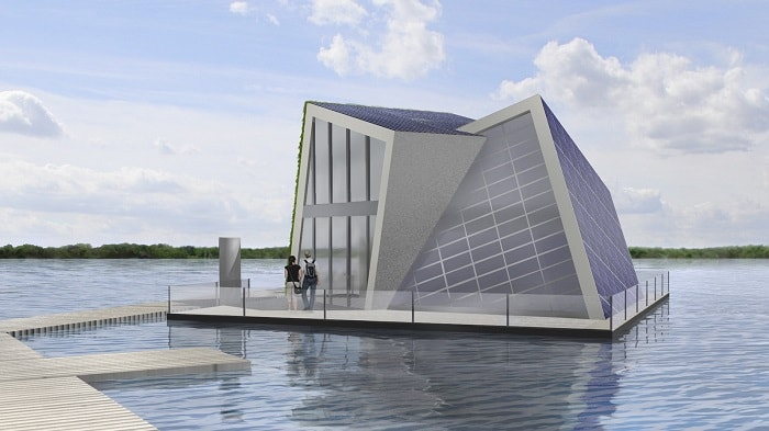Building design of a floating house that provides its own heat and water (Fraunhover IVI)