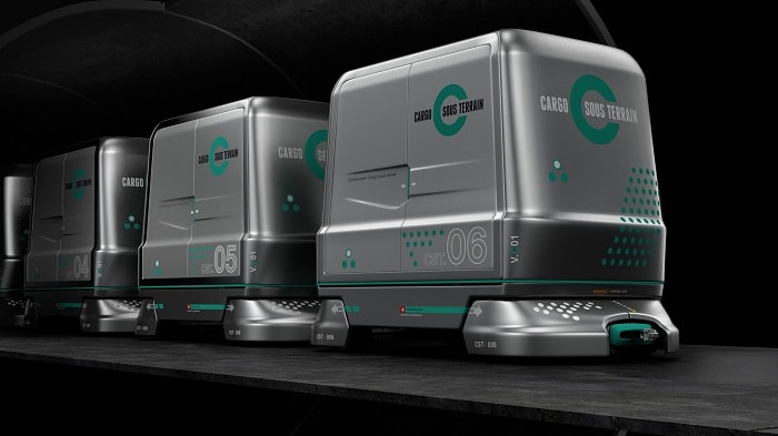 Electrically driven transport vehicles will deliver goods automated and unmanned in a three-lane tunnel and a velocity of 30 kilometres an hour (Cargo Sous Terrain)