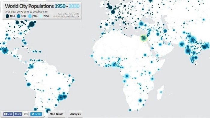 Worldwide City Populations 1950-2030 (Duncan Smith)