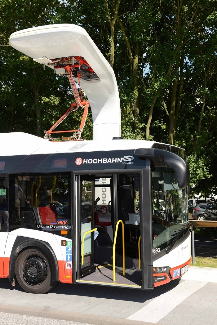 Charging all electric buses in Hamburg - eco urban transport and motoring