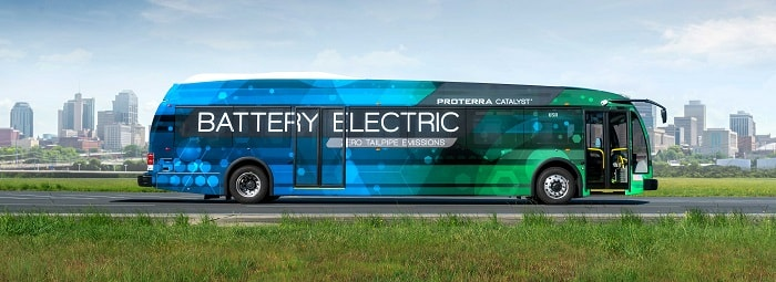 Proterra electric buses - Side of Catalyst E2 series - Green motoring and urban transport